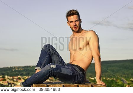 Pure Perfection. Male Fashion Model On Sky Background. Summer Relax Outdoor. Athletic Sportsman Has
