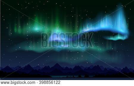 Realistic Northern Lights, Vector Illustration. Aurora Borealis Poster, Banner Template.