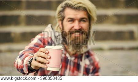 Filter Coffee. Bearded Man Drink Beverage Urban Background. Hipster Relax On Stairs. Take Away Coffe