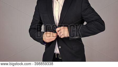 Businessman Button Jacket. Stylish Man Looking Modern. Mens Jacket Wardrobe. Fashionable Man Dressed