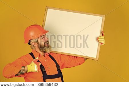 Architect Showing Project. Professional Repairman. Visual Outline. Troubleshoot Concept. Bearded Man