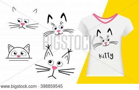 Set Faces Of Cute Cats On A White Background. Funny Kawaii Animal