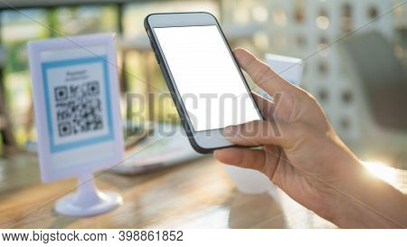 Code Payment , Online Shopping , Cashless Technology Concept. Coffee Shop Accepted Digital Pay Witho