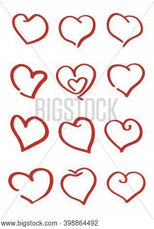 Love Heart Icon. Loving Hearts, Red Like And Lovely Romance Outline Symbols. Valentine Lovely Passio