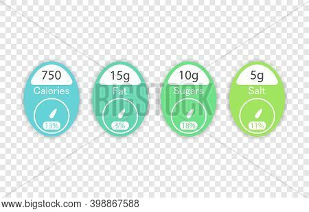 Nutrition Facts Vector Package Labels With Calories And Ingredient Information. Illustration Of Nutr