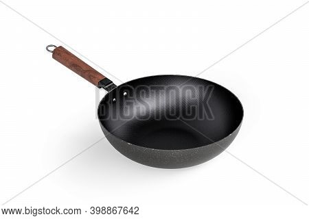 Chinese Food Frying Pan - Wok Pan With Flat Bottom And Wooden Handle Isolated On White Background -