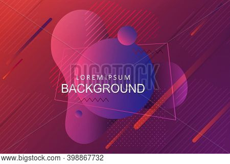 Abstract Composition With A Gradient Of Purple Colors, Oblique Lines And Circles