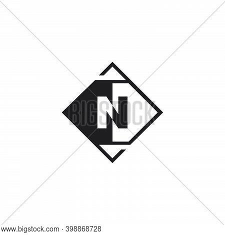 Letter N Geometrical Logo Negative Space Template Design