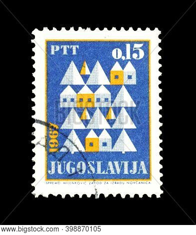 Yugoslavia - Circa 1969 : Cancelled Postage Stamp Printed By Yugoslavia, That Shows Houses And Trees