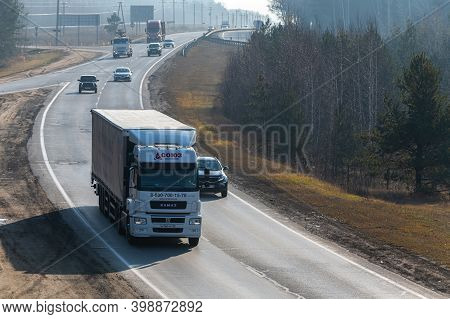 Tatarstan, Russia, Interstate Highway M7  - Nov 04th 2020. Trucks Move Along The Federal Highway To