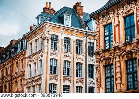Antique building view in Lille, France