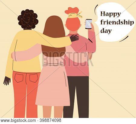 Three Best Friends Take A Selfie On The Phone, Hug. Happy Girlfriends Celebrate Friendship Day. Cart