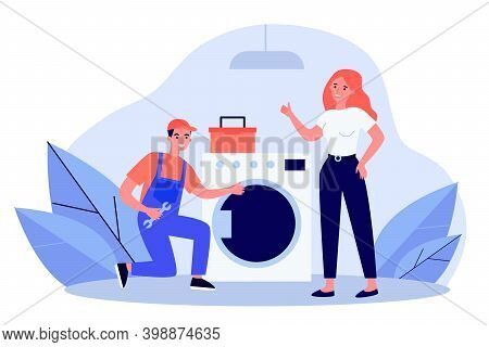 Handyman Fixing Washing Machine. Repairman In Overall With Tools And Female Client Flat Vector Illus