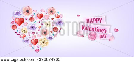 Heart-shaped Love Valentine's Day Vector Background With Anemones, Flowers, Petals, Confetti. Holida