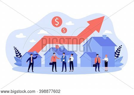 Real Estate Transaction And Rising Of Property Value. People Selling Property And Buying House And C