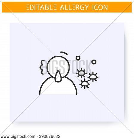 Mold Allergy Line Icon. Mushroom Spores Allergy. Symptoms, Astma, Anaphylaxis. Immunity Reaction, Im