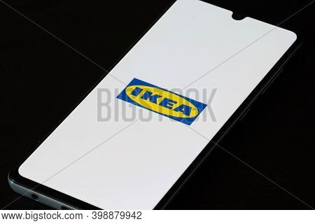 Vilnius, Lithuania - December 10 2020: Ikea App On The Smartphone Or Device. Ikea Decided To Stop Pr
