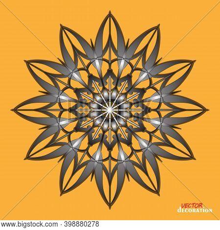 Gothic Monochrome Decorative Motif. Snowflake Sign Winter Symbol Graphic Template. Vector Ethnic Pat