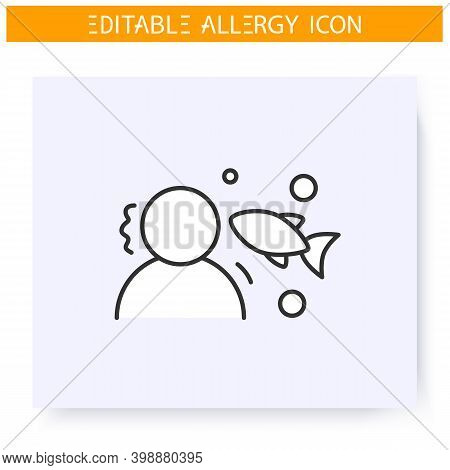 Fish Allergy Line Icon. Protein, Albumen, Intolerance. Nutrients Allergens. Immunity Reaction, Immun