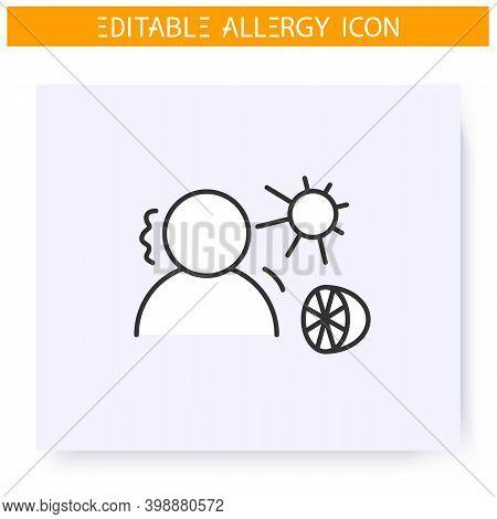 Summer Allergy Line Icon. Seasonal Fruits And Sun Radiation Allergy. Anaphylaxis, Dermatitis. Reacti