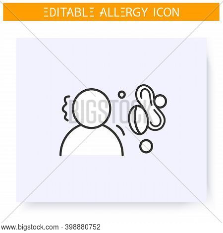 Nut Allergy Icon. Protein, Albumen, Intolerance. Nutrients Allergens. Immunity Reaction, Immune Into
