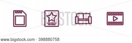 Set Line Sd Card, Cinema Chair, Hollywood Walk Of Fame Star And Play Video Icon. Vector