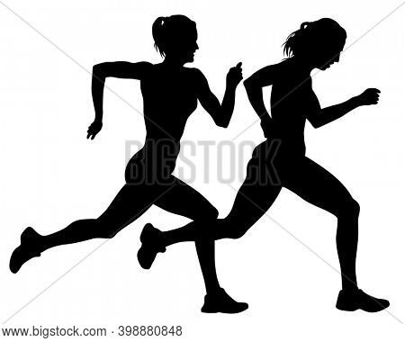 Young athletes women run a marathon. Isolated silhouettes on white background