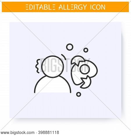 Egg Allergy Line Icon. Albumen, Protein Intolerance. Nutrients Allergens. Immunity Reaction, Immune
