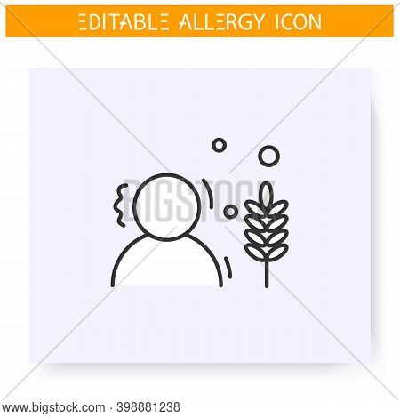 Wheat Allergy Line Icon. Gluten Intolerance. Nutrients Allergens. Immunity Reaction, Immune Intolera