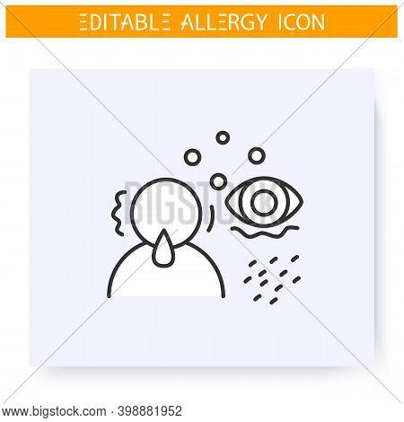 Allergy Symptoms Line Icon.allergy Diagnostics And Treatment. Rheum, Red Eyes, Astma, Dermatitis. Im