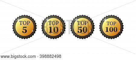 Top 5, 10, 50, 100. Best Ten List On White Background.