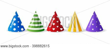 Cartoon Illustration With Different Birthday Hat On White Background For Any Purpose. Birthday Hat I