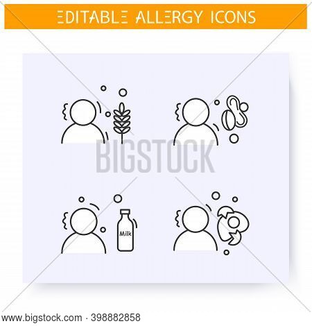 Food Intolerance Line Icons Set. Food Allergies. Gluten, Lactose, Protein And Nutrient Intolerance.