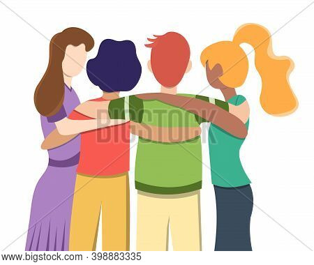 United Community Of People Of Different Races. A Group Of People Hugging Stand With Their Backs. Tea