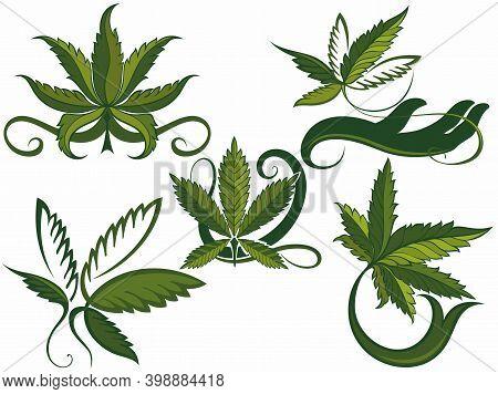 Marijuana, Cannabis Logo Graphics. Set Of Green Medical Cannabis Emblem, Logo