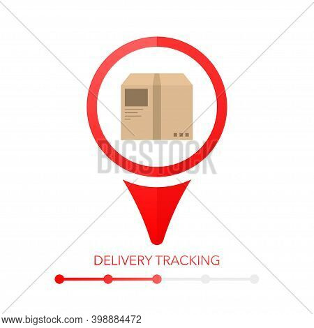 Chalkboard Illustration With Delivery Tracking Pinpoint. Location Icon Vector. Flat Vector Illustrat