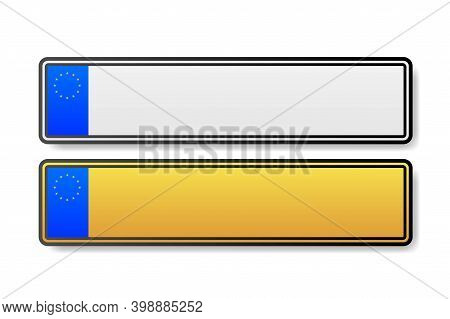 European Number Plate Car. Information Sign. Options For Vehicle License Plates.