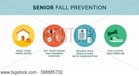 Senior Fall Prevention Tips Icons Set, Healthy Lifestyle Concept