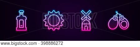 Set Line Orujo, Sun, Windmill And Castanets. Glowing Neon Icon. Vector