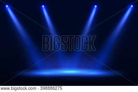 Stage Spotlight Vector Illustration. Blue Spot Light Effect With Transparent Background. Scene Illum