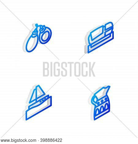 Set Isometric Line Stadium Mestalla, Castanets, Yacht Sailboat And Sangria Pitcher Icon. Vector