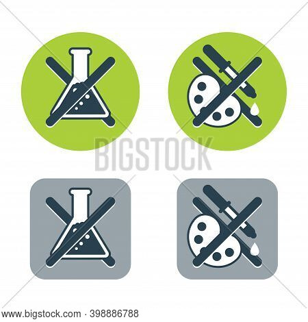 No Preservatives, No Additives And Dye Free Green Pictograms Set - Organic Food Stickers - Vector Pa