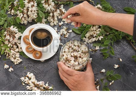 Spring Layout With Coffee On Table And White Acacia Flowers. Female Hands Pour Acacia Flowers Into A