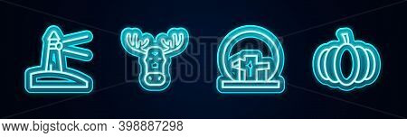 Set Line Lighthouse, Moose Head With Horns, Montreal Biosphere And Pumpkin. Glowing Neon Icon. Vecto