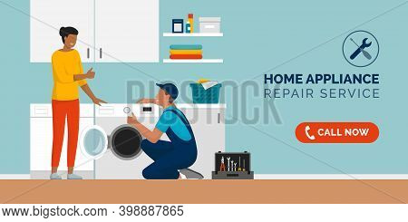 Expert Repairman Fixing A Washing Machine At Home And Happy Customer Smiling, Home Appliance Repair