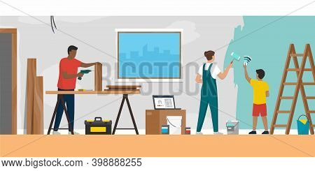 Family Renovating Their Home Together, Diy Home Improvement Concept