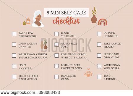 Self Care Checklist. Self Love And Self Care Ideas. Vector