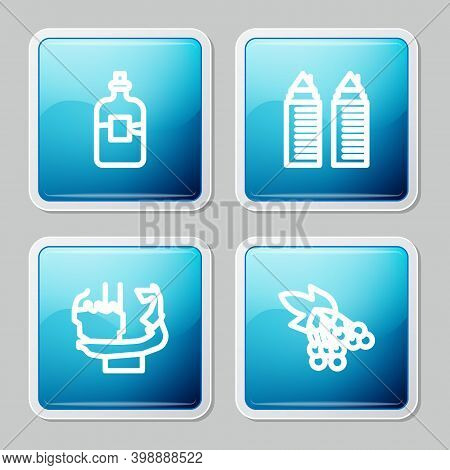 Set Line Bottle Of Vodka, Two Towers In Dnipro, Monument Founders Kiev And Branch Viburnum Icon. Vec