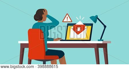 Shocked Woman Receiving An E-mail Containing A Virus, Cybercrime And Internet Safety Concept