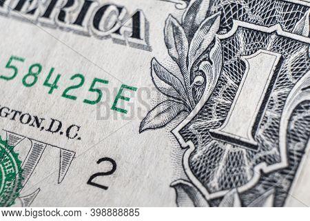 Dollar Bill Close Up Photo. Detail Of Us One Dollar Banknote With. Macro Shot Of Single Dollar Bill.